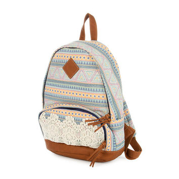 Pastel Aztec Print Backpack with Crochet Trim