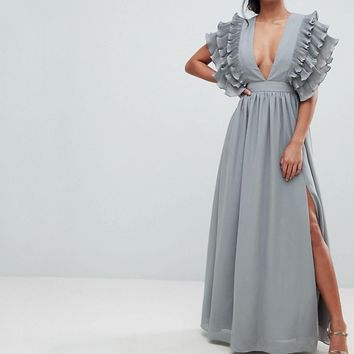 True Decadence Petite Premium Plunge Front Maxi Dress With Shoulder Detail at asos.com