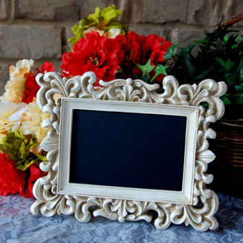Ornate shabby chic decor: Vintage white 4x6 hand-painted decorative framed scroll chalkboard sign with easel back
