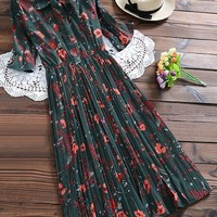 Pussy Bow Tie Floral Pleated Shirt Dress