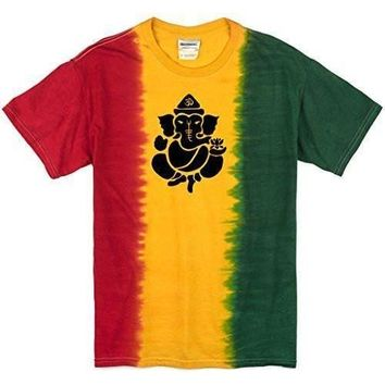Yoga Clothing for You Mens Shadow Ganesha Rasta Tie Dye Tee