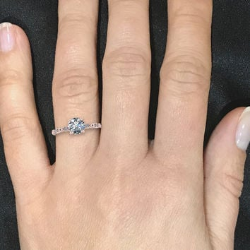 Delicate Rose Gold Moissanite Engagement Ring Round Solitaire Wedding Ring with Diamonds