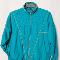 Ladies Turquoise and Gold Quilted Windbreaker, Women's Turquoise Windbreaker, 80s Turquoise Large Windbreaker