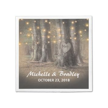 Rustic Tree & String Lights Wedding Napkin