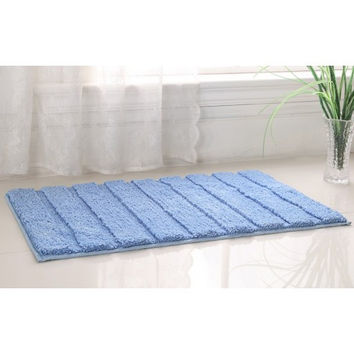 "WestBrook High Pile Microfiber Bath Rug 21x34"" Blue"