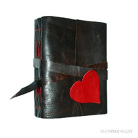"Leather Journal . ""i carry your heart with me"" - ee cummings . handmade handbound . brown w/ red heart & stitching (320 pgs)"