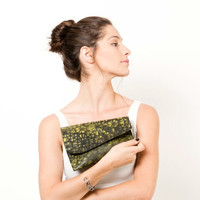 SALE Woman evening bag, Crossbody clutch, Printed clutch in yellow and black