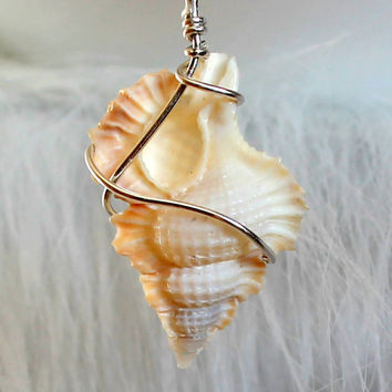 Sterling wrapped maple leaf seashell pendant wire by UniqueNecks