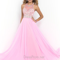 Blush Beaded Chiffon Prom Dress 9958