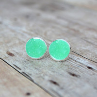 M I N T - Mint Green Opaque Chunky Sparkle, Faux Druzy, Silver Plated Stud Earrings, 12mm