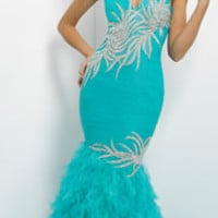 (PRE-ORDER) Blush 2014 Prom Dresses - Seaglass Beaded Crystal & Ruffled Strapless Prom Dress