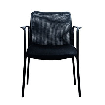 Essentials Mesh Upholstered Stacking Guest/Reception Chair with Arms - Modern Stackable Office Chair (ESS-8010)