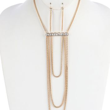 Clear Layered Foxtail Chain Drape Bib Necklace And Earring Set