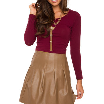 Mei Long Sleeve Crop Top - Burgundy