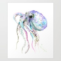 Octopus (soft gray, violet, turquouse) Art Print by SurenArt