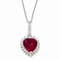 Sterling Silver Heart-Facet Synthetic Ruby, CZ Necklace