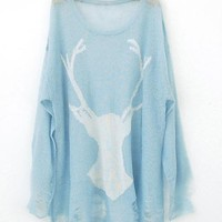 Mohair Holes Antlers Sweater Blue  Mohair Holes Antlers Sweater Sky Blue $50.00