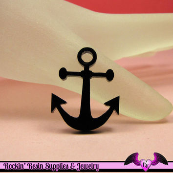 5 pc NAUTICAL ANCHOR in Black Acrylic Flatback Decoden Laser Cabochons 20x25mm