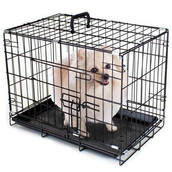 """18"""" EXTRA SMALL Folding Metal Pet Crate with Removable Liner"""