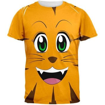 CREYCY8 Anime Cat Face Neko All Over Adult T-Shirt
