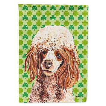 Red Miniature Poodle Lucky Shamrock St. Patrick's Day Flag Garden Size
