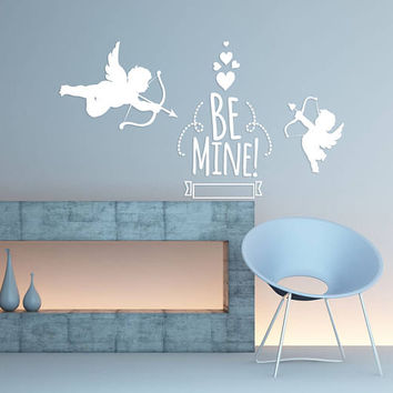 "Happy Valentine's Day Wall Decal, ""Be Mine"" Angel Wall Sticker, Valentine's Day Wall Decor, Love Day Angels Quote Wall Art Mural Decal se107"
