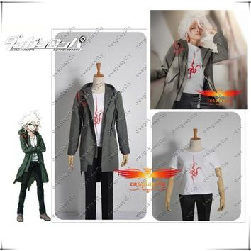 Super Danganronpa 2 Nagito Komaeda Nagito Army Green Color Jacket Shirt Pants Full Set Cosplay Costume(Pls tell us your gender)