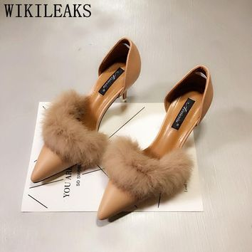 designer shoes women luxury 2017 medium heel shoes high heel pumps ladies shoes woman fur wedding shoes bride sexy high heels