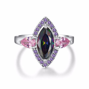 PUNK UNIQUE BIG MARQUISE CUT RAINBOW STONE RINGS FOR WOMEN WHITE GOLD PLATED PARTY BRAND JEWELRY FOR KNUCKLE ACCESSORIES
