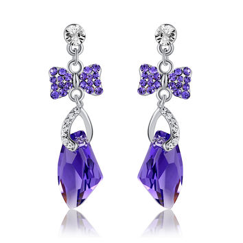 Galactic Drop Butterfly Swarovski Elements Crystal Earrings - Purple