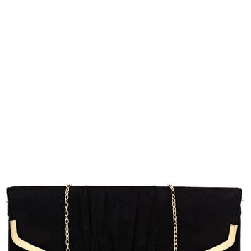 Faux Suede Black Clutch Bag