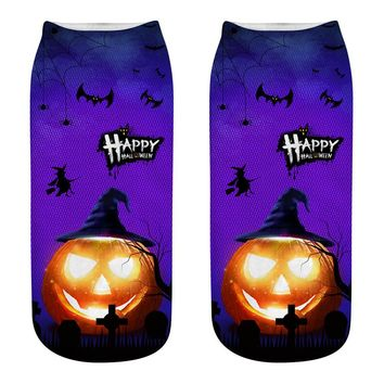 2018 Hot 3D Printed Halloween Socks Happy Pumpkin lantern Witch Castle Cat Pattern Sox Cosplay Party Lover's gift 533