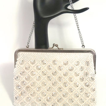 Vintage Beaded Bag,White & Silver Purse,Beaded Evening Bag,White Bag,Hong Kong,Wedding Purse,Small Bead Bag,Converts to Clutch,Chain Strap
