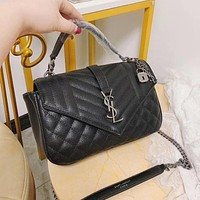 YSL New Vintage Black Letter Buckle Women's Crossbody Bag Shoulder Bag