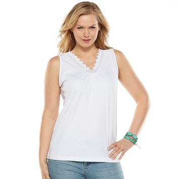 Chaps Lace & Eyelet-Trim Top - Women's Plus Size, Size: