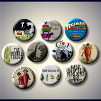 "Proud VEGAN Vegetarian Healthy eating lifestyle anti-meat 10 Pinback 1"" Buttons Badges Pins"
