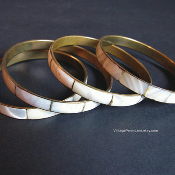 Vintage Brass Bangle Bracelets, Mother of Pearl Inlay, Vintage Bangle Bracelets