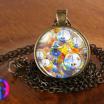 Garfield & Odie (2) Cartoon Handmade Glass Necklace Pendant Jewelry Toy Art Gift