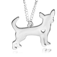new  Gold Chihuahua Necklace Pendant Puppy Heart Dog Lover Memorial Pet Necklaces & Pendants Women Animal Charms Christmas Gift