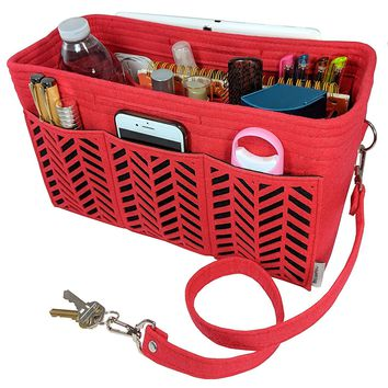 BELIANTO Felt Purse Organizer Insert Herringbone Pattern with Solid Bottom Middle Insert, 2 Bottle Holders, and Key Finder. Highly Versatile - Can Tidy up Handbag, Desktop, Craft Table, and More