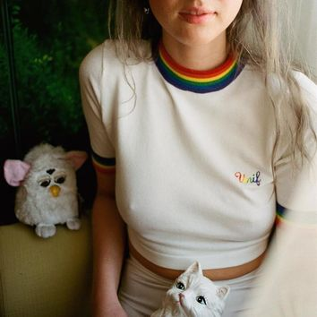 Unif Rainbow stretch navel knit short sleeve T blood