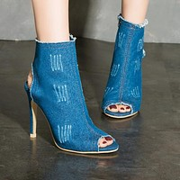 New fashionable high-heeled shoes with hollow fishmouth, short boots, women's shoes, water-washed denim sandals