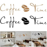 Coffee Time Cafe Wall Sticker Proverb English Wall Stickers Cafe Kitchen Decoration Art Wall Removable Home Decor Living Room