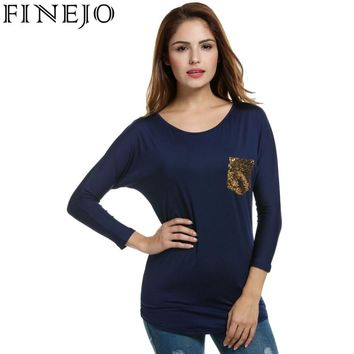 Finejo Women's T-Shirt Tops Spring Autumn Loose Batwing Long Sleeve Sequined Pocket Long Tshirt Pullovers Tees