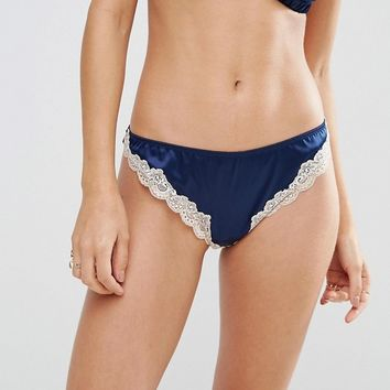 ASOS Skye Satin & Lace Thong at asos.com