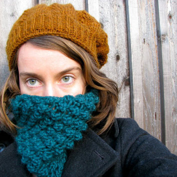 Chunky Cowl Infinity Scarf Knitted Teal by GretaHoneycutt on Etsy