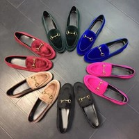 GUCCI Woman Moccasin-Gommino Fashion Velvet Flats Shoes