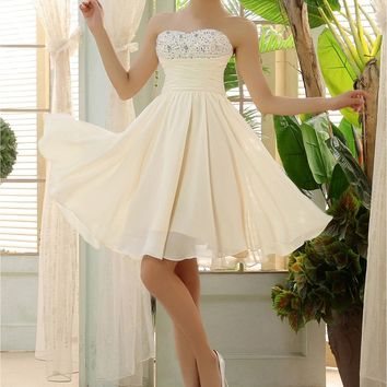 Pretty quality In Stock New Sweetheart Champagne ivory Short Bridesmaid Dresses Cheap 2016 Party Dress For Wedding bridesmaid