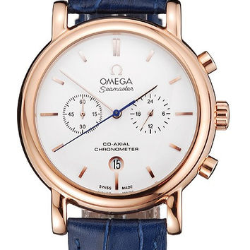 Omega Seamaster Vintage Chronograph White Dial Rose Gold Case Blue Leather Strap