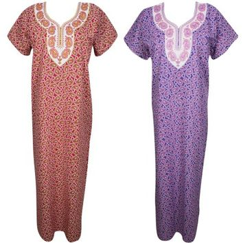 Mogul Lot Of 2 Womens Maxi Caftan Cotton Paisley Print Nightgown Resort Wear Sleepwear Long Dress M - Walmart.com